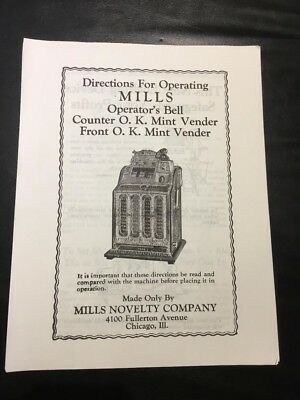 Slot Machine Mills Operator's Bell & Counter/front O.k. Mint Venders Manual (A)