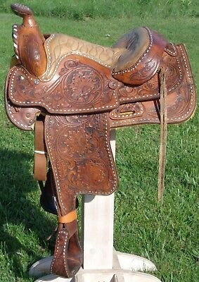 "QUALITY Vintage 17"" Seat Tooled Buckstitched Leather Ranch Pleasure Show SADDLE"