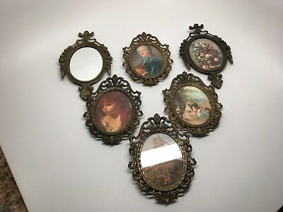 Vintage Lot of (6) Miniature Ornate Brass Picture Frames -  Made in Italy