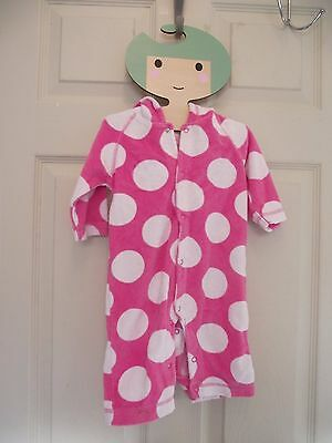 Mini Boden Baby Girl Toweling Play Suit Swim Cover Pink White Spots 3-6 M Ears