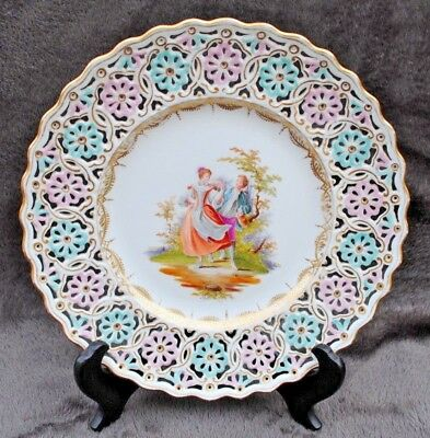 19Thc Meissen Dresden Pierced Plate Decorated H Painted Figures Courting Couple