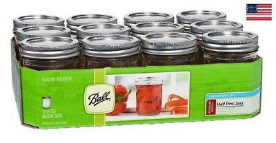 Ball Regular Mouth Canning Mason Jars | Preserve Lids, Clear Glass 8OZ, 12-Count