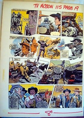 1970's TV Action Comic Original Colour Artwork by Colin Andrew from 1972
