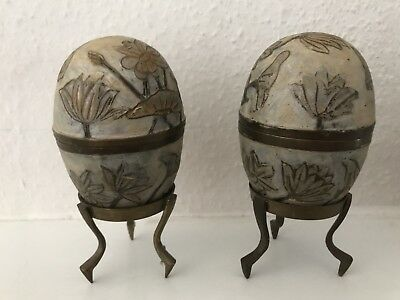Pair Of Egg Shaped Brass Cloisonne Trinket Boxes On Stands
