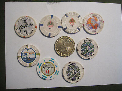 Lot Of 9 Casino  Chips Mostly Atlantic City With Trump Plaza