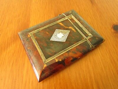 A Victorian card case inlaid with silver and Abalone
