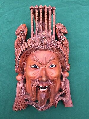 "Vintage 12"" Emperor HAND CARVED ROSEWOOD MASK, China, wall hanging, Man"