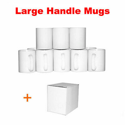 Sublimation Mug Large Handle 11oz 48 Mug White, Double Layer Coated Heat Press