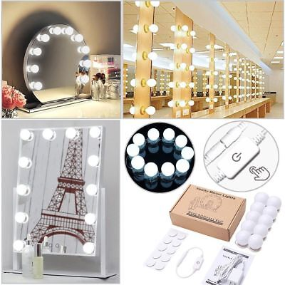 10PCS LED Vanity Makeup Mirror Lights Kit Hollywood Style Dimmable Table Bulbs