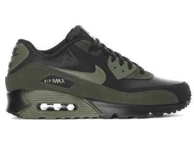 new product b7a0c a1613 Nike Air Max 90 Leather 302519 014 Mens Trainers Black Running Shoes