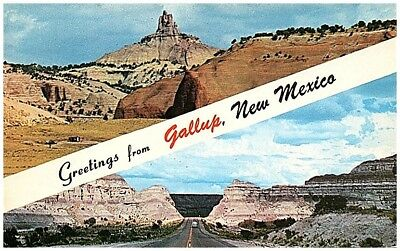 Postcard dual view on famous Route 66 in Gallup New Mexico NM
