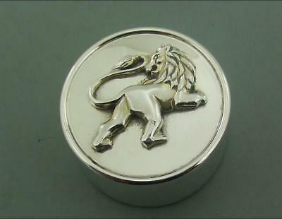 Large Solid Silver Pill Box Or Small Trinket Box Garrard 1997 Leo The Lion