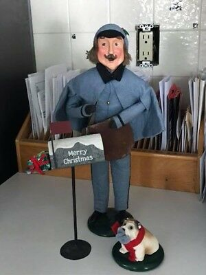 byers choice carolers Postman, Mailbox, and Dog 1990/1991 Sold as a set