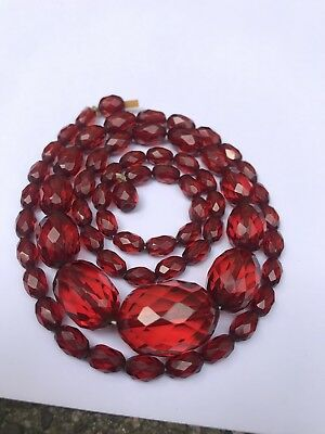 """VTG ART DECO Cherry Amber Faceted BEAD BAKELITE NECKLACE 27"""" Simichrome Tested"""