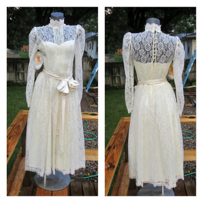 Vintage 1980's NOS Jessica McClintock Victorian Wedding Dress - Tea Length sz 11