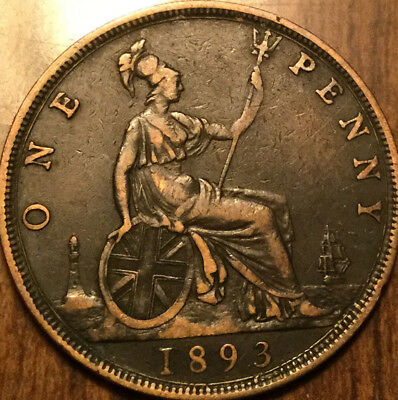 1893 UK GB GREAT BRITAIN VICTORIA ONE PENNY - A nicer example