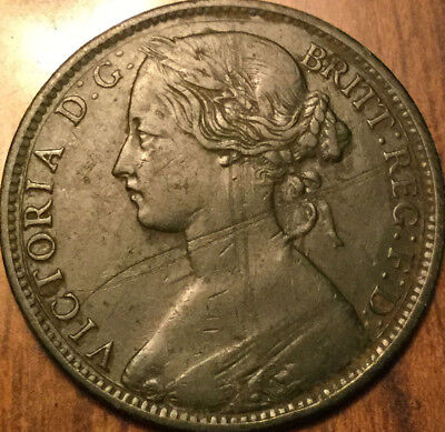 1861 UK GB GREAT BRITAIN VICTORIA ONE PENNY - A dark example With better details