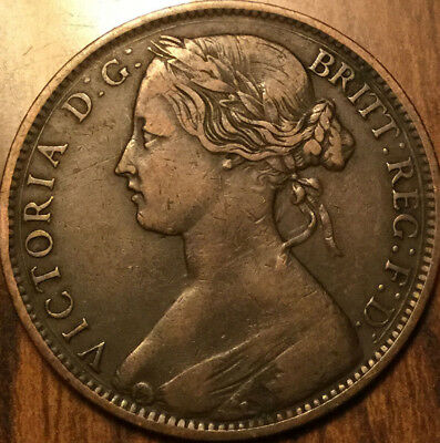 1861 UK GB GREAT BRITAIN VICTORIA ONE PENNY - A nice example with great details!