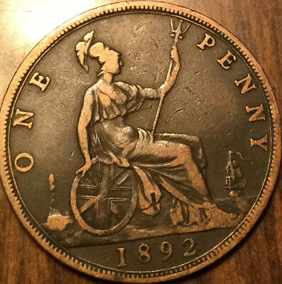 1892 UK GB GREAT BRITAIN VICTORIA ONE PENNY - With some details
