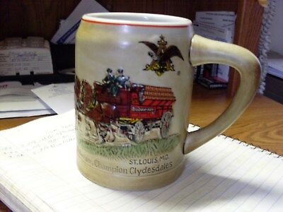 Budweiser / Ceramarte Cs-19 First Holiday Clydesdales Stein  1980