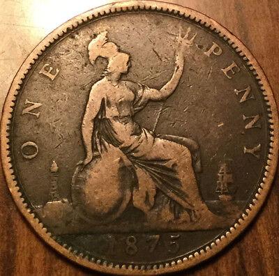 1875 Uk Gb Great Britain Victoria One Penny