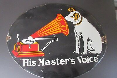 "Antikes Reklame Emaille Schild ""His Master's Voice"" Enamel Advertising Sign"