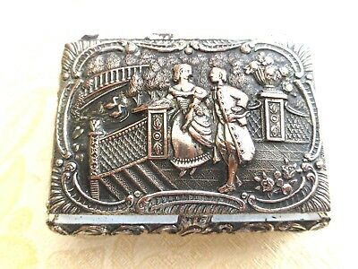 VINTAGE SILVER PLATED TRINKET BOX WITH 17th CENTURY EMBOSSED SCENE  1380955/959