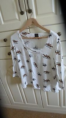 Joules Bronte Style Blouse With Riding Scene Size 16