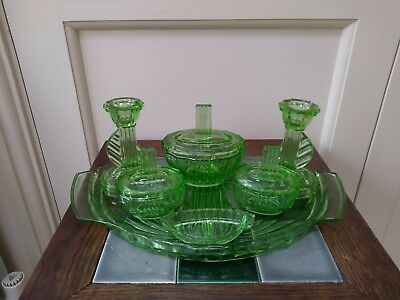 Art Deco complete dressing table set - Green pressed glass, strong UV glow.