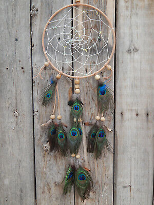 Hand Made Dream Catcher With Real Peacock Feathers