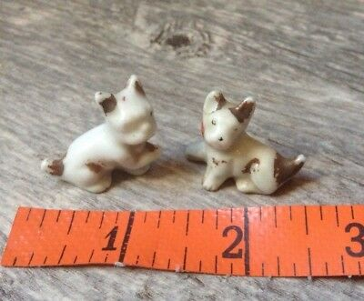 Pair of Vintage Dog Miniature Figures Terrarium or Diorama