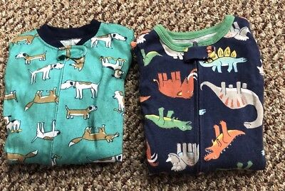 Carters Boys Sleepers Size 12 Mos. Lot Of 2