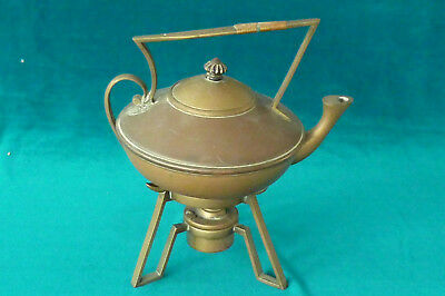 Art Nouveau W.A.S. Benson? Arts & Crafts Spirit Kettle & Stand Signed Soutter