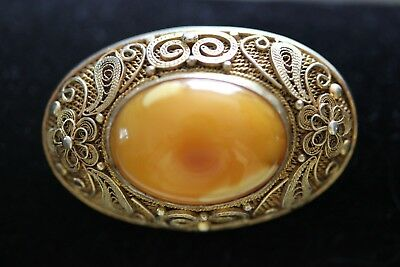 Antique Chinese Real Butterscotch Amber Filigree Silver Brooch Pin Excellent!