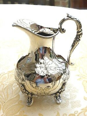 Victorian Floral Etched Silver Plated Footed & Beaded Cream Jug   1380876/880