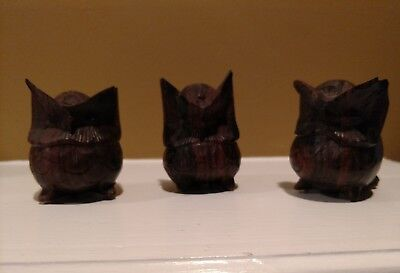 "Wooden owls Set of 3 Vintage 2.5"" Tall Perfect!!"
