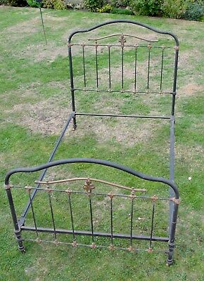 1880s ANTIQUE VICTORIAN  4Ft  BRASS & IRON BEDSTEAD in need of a polish