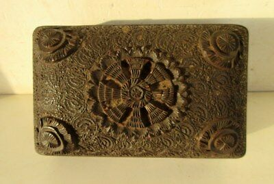 Antique Old Rare Flower Hand Carving Wooden Indian Jewellery Money Collect Box