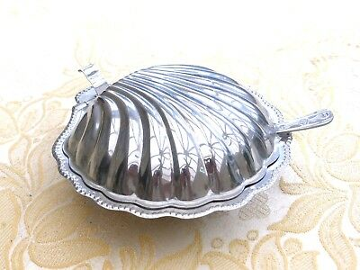 Vintage Silver Plated Clam Shell Butter Dish, Glass Liner & Spreader 1380810/816