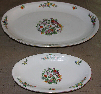 Vintage/Antique Large & Small Platters W/Bird and Flower Made in Czechoslovakia