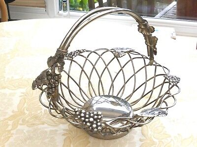 Vintage Godinger Silver Plated Tuscan Grape Wired Fruit Basket   1380766/773