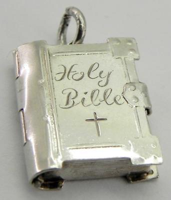 Vintage Solid Silver Holy Bible Charm.