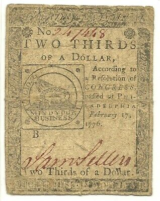 1776 $2/3 Continental Currency Note ~ Fugio & Chain Links Motif~  Bold Very Fine