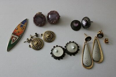 Small job lot of vintage and antique earrings spares and repairs inc Silver