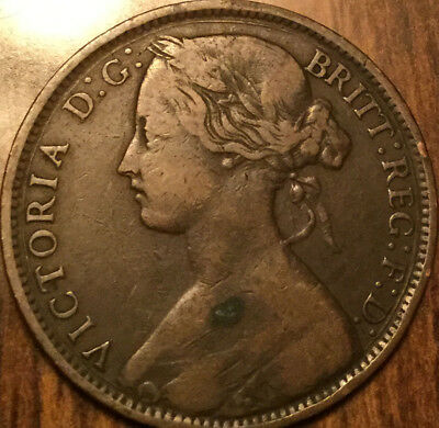 1861 UK GB GREAT BRITAIN VICTORIA ONE PENNY - With good details!