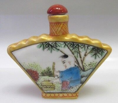Chinese Oriental 2 sided Hand Painted Porcelain Snuff Bottle