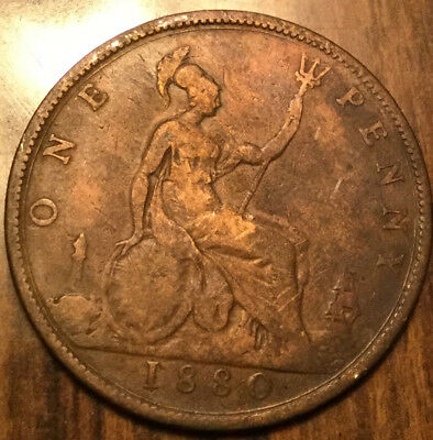 1880 UK GB GREAT BRITAIN VICTORIA ONE PENNY - With good details - Cleaned