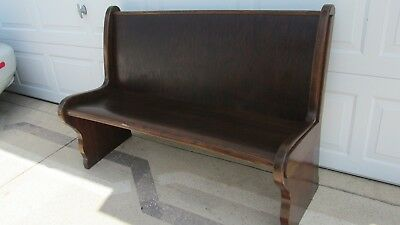 """Antique Church Pew Oak Wood Old Curved Bench Seat 52"""" Long"""