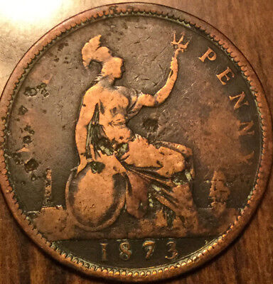 1873 UK GB GREAT BRITAIN VICTORIA ONE PENNY - Cleaned
