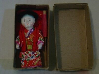 Vintage Yoshitoku Small Baby Doll In Box With Pillow And Umbrella Made In Japan